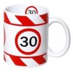 Tasse 30 Jahre Kaffebecher 30 Geburtstag rot weiß Warnband