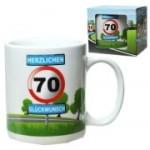 Tasse 70 Jahre Kaffebecher 70. Geburtstag Verkehrsschild