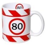 Tasse 80 Jahre Kaffebecher 80 Geburtstag rot weiß Warnband