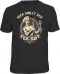 Fun Shirt HIER GRILLT DER CHEF  T-Shirt Spruch witzig Geschenk (Größe:: XL (52/54))