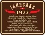 Blechschild JAHRGANG 1977 Geburtstag