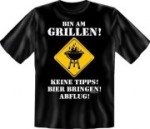 Fun Shirt BIN AM GRILLEN BIER BRINGEN Grillen Grill T-Shirt (Größe:: S (42/44))