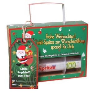 Geldgeschenk Finanz Spritze Frohe Weihnachten Geldspritze