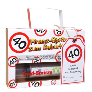 Geldgeschenk Finanz Spritze 40. Geburtstag Geldspritze