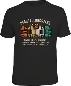 T-Shirt zum 18. Geburtstag HERSTELLUNGSJAHR 2003 (Größe:: M (46/48))