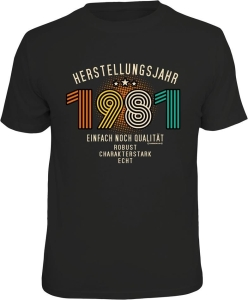 T-Shirt zum 40. Geburtstag HERSTELLUNGSJAHR 1981 (Größe:: XL (52/54))