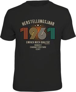 T-Shirt zum 60. Geburtstag HERSTELLUNGSJAHR 1961 (Größe:: L (50/52))
