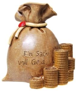Spardose Geldsack Text: Ein Sack voll Geld
