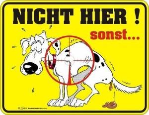 Blechschild NICHT HIER! sonst... Geprägtes, bedrucktes Blech Schild als Warnung für den Hund, FUN