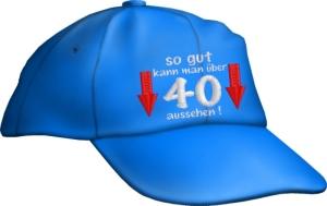Caps Fun so gut kann man über 40 aussehen!, Basecap bestickt blau, Cap größenverstellbar