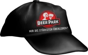 Caps Fun BEER PARK NUR DIE STÄRKSTEN ÜBERLEBEN!, Basecap bestickt schwarz, Cap größenverstellbar