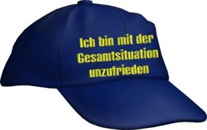 Caps Fun Ich bin mit der Gesamtsituation unzufrieden, Basecap bestickt blau, Cap größenverstellbar