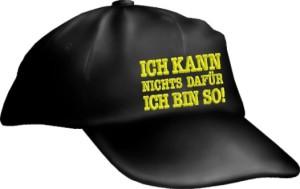 Caps Fun ICH KANN NICHTS DAFÜR ICH BIN SO!, Basecap Cap bestickt schwarz, größenverstellbar