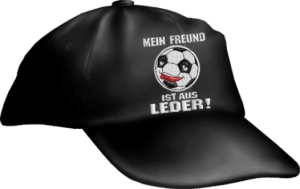 Caps Fun MEIN FREUND IST AUS LEDER!, Basecap Cap bestickt schwarz, größenverstellbar