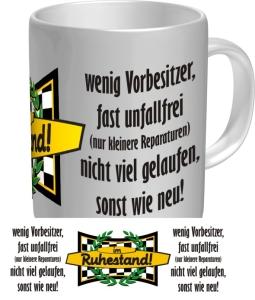 Tasse mit Fun Spruch: im RUHESTAND! witzige Kaffeetasse / Becher im Geschenkkarton für den Rentner / Ruheständler