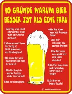 Blechschild mit Spruch: 10 GRÜNDE WARUM BIER BESSER IST ALS EINE FRAU! Geprägtes, bedrucktes Blech Schild für Partyraum, Kneipe, Fun