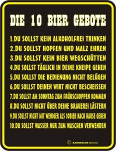 Blechschild mit Spruch: Die 10 Bier Gebote!
