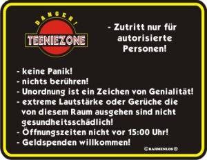 Blechschild mit Spruch: TEENIEZONE, Zutritt nur für autorisierte Personen! Geprägtes, bedrucktes Blech Schild für das Kinderzimmer / Teenie, FUN