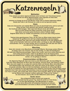 Blechschild mit Spruch: Katzenregeln! Geprägtes, bedrucktes Blech