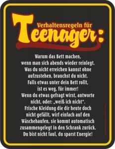 Blechschild Teenager Verhaltensregeln