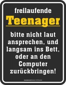 Blechschild freilaufende Teenager