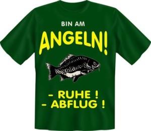 T-Shirt Angeln RUHE ABFLUG Angler Fun Shirt Sprüche Fisch Angelgott Petri Heil Geschenk (Größe:: S (42/44))