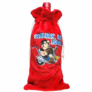 Flaschenbeutel Schluck, Du Luder..., Geschenktasche / Beutel Plüsch für Flaschen, Flaschentüte für den Motorrad-Fan