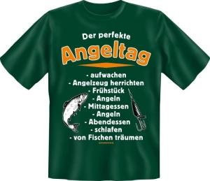 T-Shirt perfekte Angeltag Fun Shirt Sprüche Angler angeln Fisch (Größe:: S (42/44))