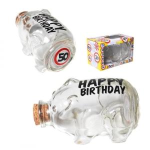 Flaschenpost Sparschwein 50 Geburtstag Sparbüchse Glas