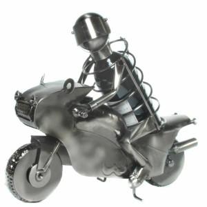 Flaschenhalter Motorradfahrer aus Metall Flaschenständer