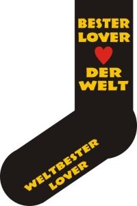 Socken FUN BESTER LOVER DER WELT, Strümpfe mit witzigem Spruch, Fun Sox