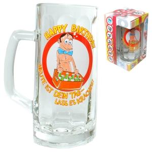 Bierglas HAPPY BIRTHDAY Glas Bierkrug 0,5 l Geburtstag Spaß Fun Party