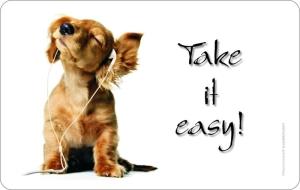 Frühstücksbrettchen Hund mit Kopfhörer Take it easy! Schneidebrett / Brettchen aus Resopal, Kult / Fun für den echten Hundeliebhaber