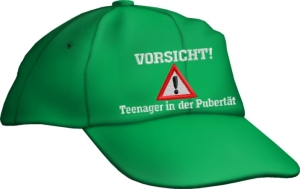 Caps Fun Vorsicht! Teenager in der Pubertät! Base Cap Sprüche bestickt, größenverstellbar Basecap