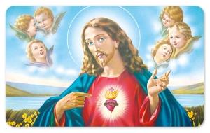 Frühstücksbrettchen Jesus -Nostalgie, Schneidebrett Brettchen mit Jesus und Engeln