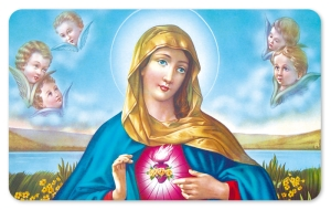 Frühstücksbrettchen Maria -Nostalgie, Schneidebrett Brettchen mit Maria und Engeln