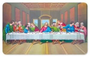 Frühstücksbrettchen Das letzte Abendmahl -Nostalgie, Schneidebrett Brettchen mit Jesus und den Jüngern