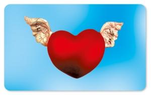 Frühstücksbrettchen Flügelherz, Schneidebrett Brettchen mit Herz und Flügeln