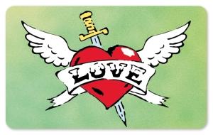 Frühstücksbrettchen Tattoo Love, Schneidebrett / Brettchen mit einem Herz und dem Tattoo LOVE