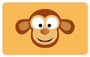 Frühstücksbrettchen Affe, Schneidebrett / Brettchen mit einem süßen Affenkopf