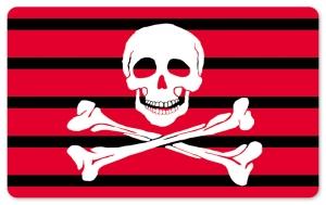 Frühstücksbrettchen Jolly Roger Red Stripes, Schneidebrett Brettchen mit einem Totenkopf und Knochen schwarz / rot gestreift