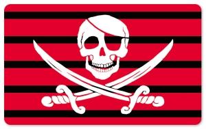 Frühstücksbrettchen Capt. Jack Rackham Red Stripes, Schneidebrett Brettchen mit einem Totenkopf als Pirat, schwarz / rot gestreift