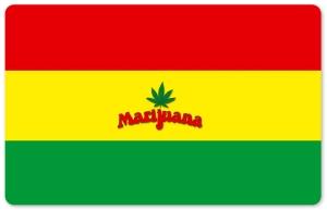 Frühstücksbrettchen Marijuana, Schneidebrett Brettchen gestreift und Hanfblatt mit der Aufschrift Marijuana