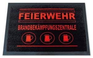 Fußmatte FEIERWEHR -Brandbekämpfungszentrale, Türmatte, Türvorleger, Fußabtreter FUN, Sprüche