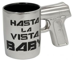 Tasse Becher Hasta la vista Baby Revolver Griff Kaffeebecher