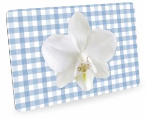 Frühstücksbrettchen Orchideen mit Karo, Schneidebrett Brettchen mit Orchideenblüte, kariert blau