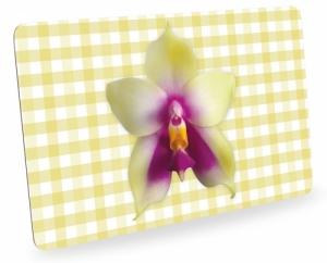 Frühstücksbrettchen Orchideen mit Karo, Schneidebrett Brettchen mit Orchideenblüte, kariert gelb