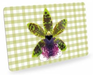 Frühstücksbrettchen Orchideen mit Karo, Schneidebrett Brettchen mit Orchideenblüte, kariert grün