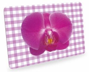Frühstücksbrettchen Orchideen mit Karo, Schneidebrett Brettchen mit Orchideenblüte, kariert pink
