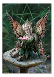 Flagge Anne Stokes -Mushroom Fairy, Elfe auf einem riesigen Pilz